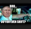 Trump behind the wheel