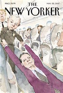 New Yorker Magazine cover showing Jeff Sessions dragging FBI Dir. Comey off a plane as President Trump watches