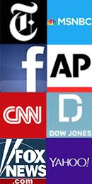 NY Times, MSNBC, Facebook, AP, CNN, Dow Jones, CNN, FOX, Yahoo!