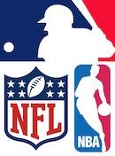 MLB, NFL & NBA logos