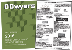 2016 O'Dwyer's Directory of PR Firms
