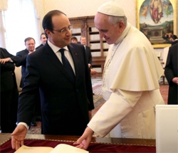 Hollande with Pope Francis