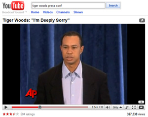 Tiger Woods statement on YouTube