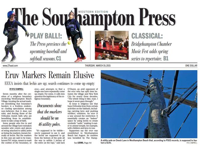Southampton Press Nails Fake 'Eruv' in Westhampton - Fri , Mar  20, 2015