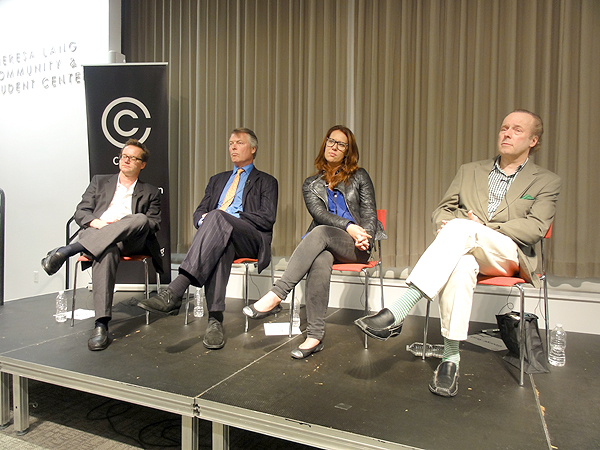 Panelists Michael Riedel, Richard Johnson, Jo Piazza and George Rush.
