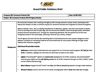 BIC Consumer Products Seeks RFP for Branding - Mon , Oct  12