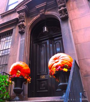 Pumpkins outside NYC brownstone