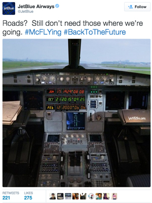 JetBlue - Back To The Future tweet