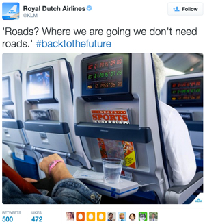 Royal Dutch Airlines - Back To The Future tweet