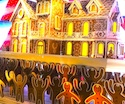 Gingerbread cookies in window at Lord & Taylor
