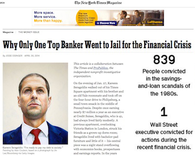 Who Only One Top Banker Went to Jail for the Financial Crisis