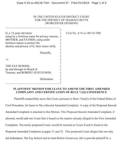 Fay School lawsuit