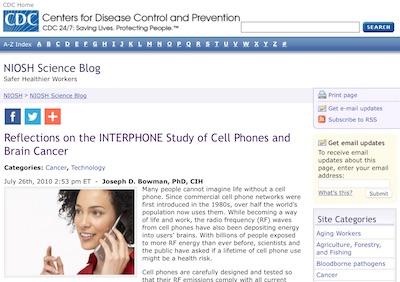 CDC - Interphone Study of Cell Phones