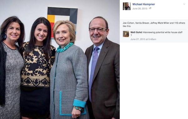 Michale Kempner's Facebook page - picture with Hillary Clinton