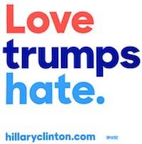 Love Trumps Hate - Hillary Clinton sticker