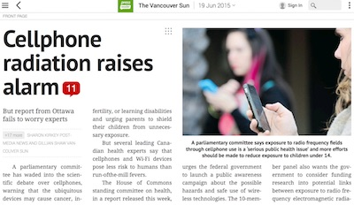Vancouver Sun - Cellphone Radiation Raises Alarm