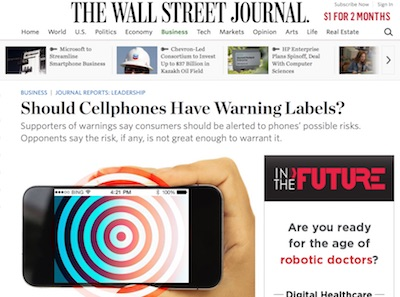 Wall Street Journal article on cellphone dangers