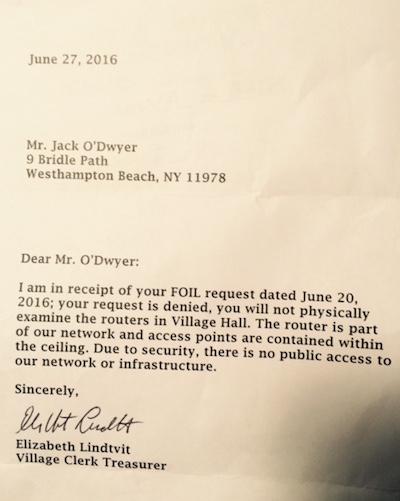 Letter from Village Clerk Treasurer