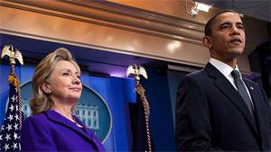 obama, clinton White House photo