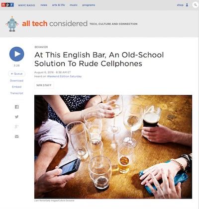 NPR story on Gin Tub bar's cellphone ban
