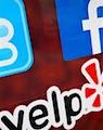 Twitter, Facebook, Yelp logos