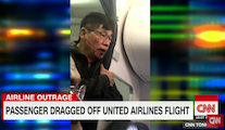 CNN coverage of Dr. David Dao forcibly removed from a United Airlines Sunday flight at Chicago's O'Hare Airpori