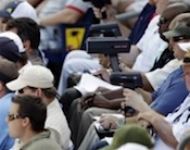 Radar guns at baseball game