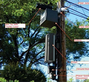 Utility poll with 5G equipment