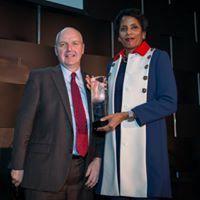 Gary Sheffer (Senior corporate strategist, Weber Shandwick) and Lisa Davis (Corporate VP, Communications at Northrop Grumman Corporation), honored Gwen Ifill