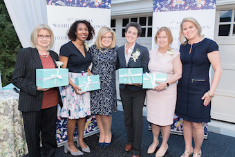 (L to R): Lynn Sweet, Audie Cornish, Gloria Dittus, Amy Walter, Amanda Bennett, and Cathy Merrill Williams. Photo credit: Daniel Swartz/Revamp.