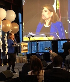 Shelley Spector accepting the Philip Dorf Award