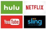 hulu, Netflix, YouTube, Sling