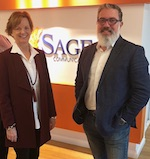 Lou Anne Brossman, founder and president of Virtual Marketing, with David Gorodetski, co-Founder and COO of Sage Communications