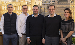 (L-R): MMGY Global CEO Clayton Reid with Digital Spring co-founder and operations director Rob Llewellyn, Digital Spring directors Rob Jolliffe and Dominique Moseley, and MMGY Global president Katie Briscoe.