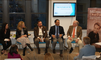(l to r.) Grace Leong, CEO + partner, Hunter; Barri Rafferty, president & CEO, Ketchum; Henry Feintuch, president, Feintuch Communications; Jon Iwata, IBM senior advisor and executive fellow, Yale School of Management; and Bill Doescher, author,