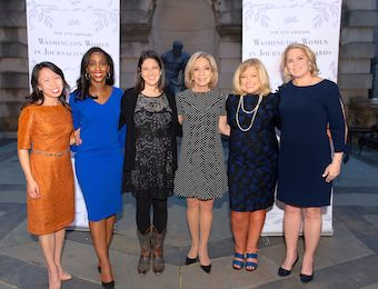 From left: Amanda Terkel, Abby Phillip, Ashley Parker, Andrea Mitchell, Gloria Dittus and Cathy Merrill Williams