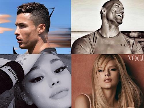 Ronaldo, Dwayne Johnson, Ariana Grande & Taylor Swift
