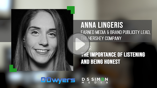 O'Dwyer's/DS Simon Video Interview Series: Anna Ligeris, Earned Media & Brand Publicity Lead, The Hershey Company