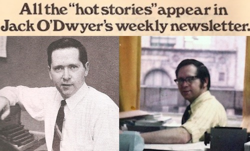 Jack O'Dwyer as a young reporter in the late 60s and (left) seated at his desk in the mid-70s at 271 Madison Ave. in NYC where O'Dwyer's is still headquartered.
