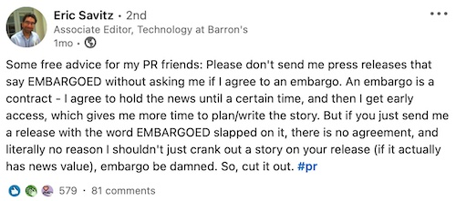 Eric Savitz, associate editor at Barron's, tweet