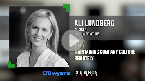 O'Dwyer's/DS Simon Video Interview Series: Ali Lundberg, President, J Public Relations